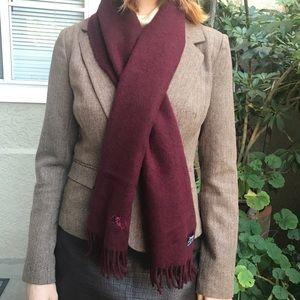 Burgundy Burberry 100% cashmere scarf